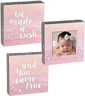 "Grasslands Road 465478""We Made A Wish Plaque & Frame Set Baby Shower Gifts, 5 7/8"" x 5 7/8"", Pink"