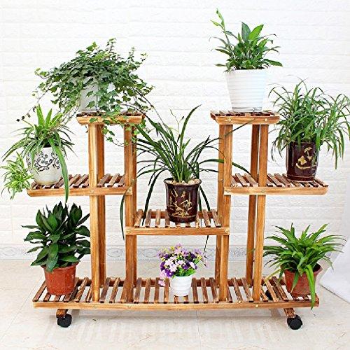 Yxsd Houten bloembak voor de woonkamer plank voor wastafel van massief hout voor de woonkamer balkon meerdere lagen bestekbak voor orchideeën roze orchideeën hangend bodem
