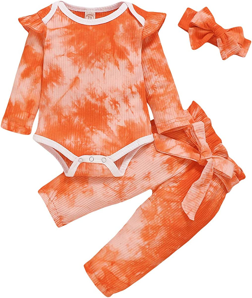 Argorgeous Newborn Baby Girl Clothes Tie Dye Long Sleeve Romper Pants Headband Toddler Fall Winter Outfits