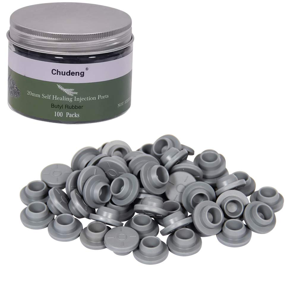 20mm Vial Rubber Stoppers (100 Count) Mushroom Self Healing Inje