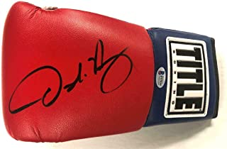 OSCAR DE LA HOYA Autograph Signed red TITLE Boxing Glove (C) ~ Beckett BAS COA - Beckett Authentication