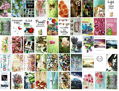 50 Luxe wenskaarten - Assortie Blanco/Beterschap/Felicitatie/Condoleance - 12x17cm - Gevouwen kaarten met enveloppen