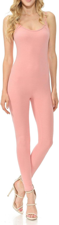 JJJ Women Catsuit Cotton Spaghetti Strapped Yoga Bodysuit Jumpsuit Reg/Plus Size