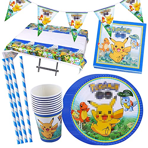 Gxhong Image de dessin animé Kit Anniversaire Ensemble de décoration de fête d'anniversaire Party Décorations Fournitures Set de vaisselle assiettes tasses serviettes nappes pailles bannière 52 pièces