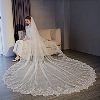 Wedding veil bride veil,Lace Cathedral long tailed veil,Suitable for wedding and wedding photography shooting props