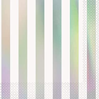 Unique Party 53932 - Foil Iridescent Striped Paper Napkins, Pack of 16