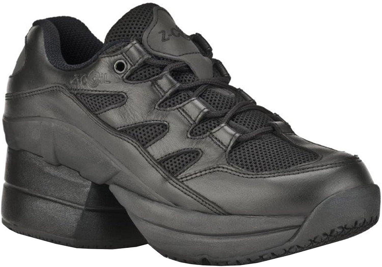 Z-CoiL Pain Relief Footwear Men's Freedom Slip Resistant Enclosed Coil Black Leather Tennis shoes