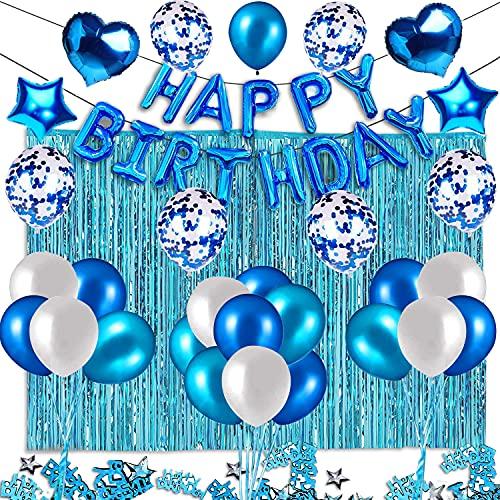 ANTERAT Juego de decoraciones de fiesta de cumpleaños azul incluido con globos de feliz, confeti y cortinas de papel de aluminio para niños, suministros de fiesta de cumpleaños
