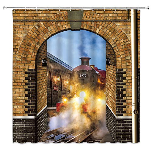 dachengxing Vintage Train Shower Curtain Platform 9 and 3/4 Decor Steam Engine to Secret Passage of King's Cross Station,Fabric Bathroom Set Hooks Included 70x70 Inch,Brown Yellow