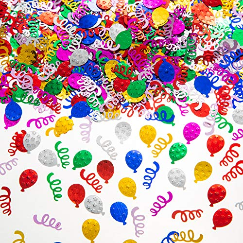 Happy Birthday Confetti Metallic Foil Balloon Ribbon Multicolor Sequins, Sprinkling Birthday Party Decoration Table Wedding Baby Shower Party Decorations, DIY Handmade Art Production - 2 oz / 60 g