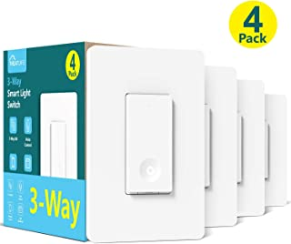 3-Way Smart Light Switch, Neutral Wire Required, Treatlife WiFi Light Switch 3-Way Switch Works with Alexa, Google Assistant, Remote Control, ETL, Schedule, No Hub Required, 4 Pack