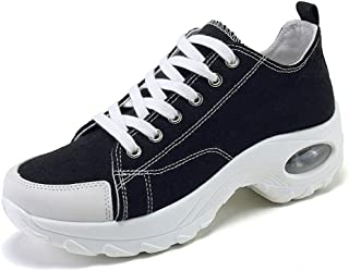 WELRUNG Women's Air Cushion High Top Heightened Sole Sports Causal Fashion Sneakers Canvas Walking Shoes