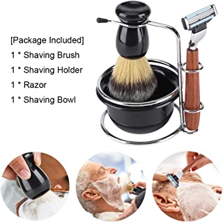 Shaving Kits for Men Gift Set,4 Piece - Includes Manual Razor + Stainess Steel Stand Holder + Shaving Brush+ Shaving Bowl, Great Gift Option for your Man, Husband, Father or Brother