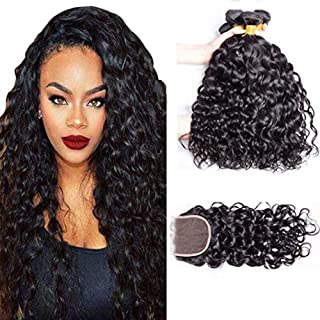ALIMICE HAIR Water Wave 3 bundles with closure Brazilian 100% Human hair Weave bundles with 4x4 Closure Remy Hair extensions Can be dyed (14 16 18+14)