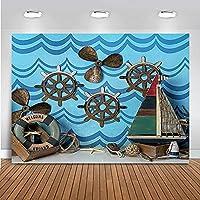 背景布 ボトムキャンバス航海アナウンスの装飾誕生日トップテーマ海賊の男の子の写真撮影-8x6ft