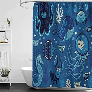 Bensonsve Shower Curtains for Bathroom Shabby Chic Ocean,Deep Sealife with Cute Sweet Cartoon Style Animals Little Whale Fish Octopus and Moss Print,Blue W72 x L96,Shower Curtain for Kids