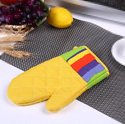 Dbtxwd gants de cuisine épaississement micro-ondes four gants haute température anti-brûlure bicarbonate toile gants isolants (pack de 3) , yellow