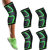 4 Pack/2 Pairs Anti-Slip Compression Knee Sleeves Wraps
