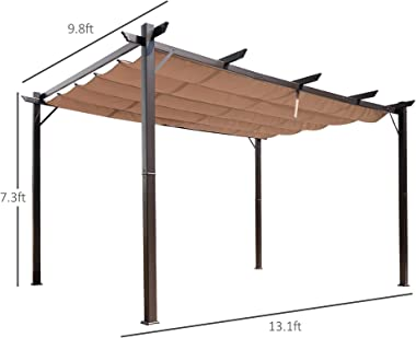 Outsunny 10' x 13' Aluminum Retractable Patio Gazebo Garden Pergola with Weather-Resistant Canopy and Stylish Design