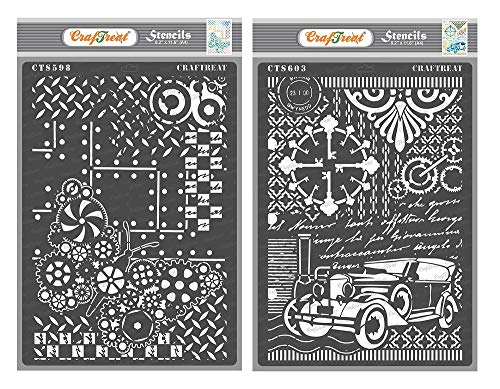 CrafTreat Stencils for Painting on Wood, Canvas, Paper, Fabric, Floor, Wall and Tile - Steampunk Butterfly & Vintage Car - 2 Pcs - Size: A4 Each - Reusable DIY Art and Craft Stencils for Mixed Media
