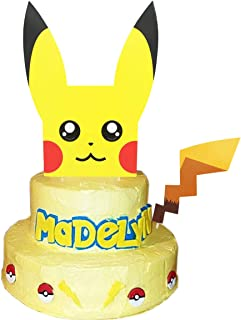 Pikachu Inspired Cake Topper - Double Sides 8.0 Inch Cute Face and Tail for Birthday Party Supplies