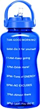 QuiFit 64 Oz Motivational Water Bottle - with Straw & Time Marker BPA Free Half Gallon Large Water Jug Leak-Proof Durable ...