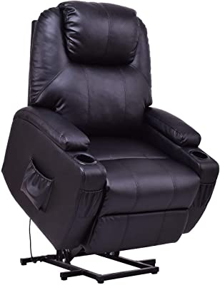 Casart Electric Power Lift Recliner Chair for Elderly PU Leather Padded Seat with Remote & Cup Holder Living Room Chair (Black)