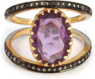 Handmade Natural Diamond Ring, With 14k Fine Gold Oval Shape Ring With Purple Birthstone Amethyst And 0.25 Carat Naturally...