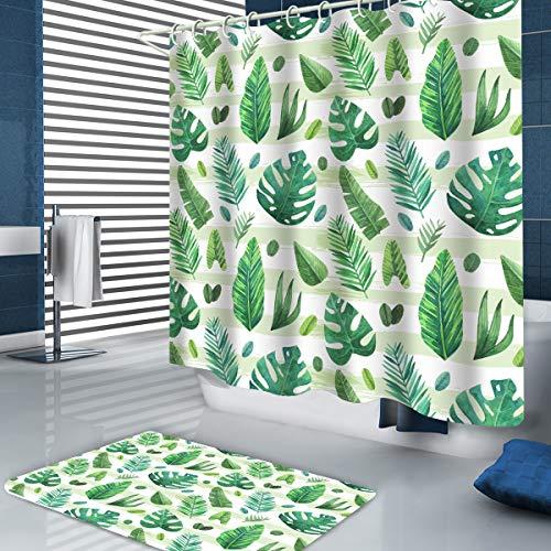 POPRUN Duschvorhang, 180X180, 3D Digitaldruck Grüne Pflanze mit lebendigen Farben Design, 100prozent Polyester, inkl. 12 Ringe, wasserdicht, Anti-Schimmel