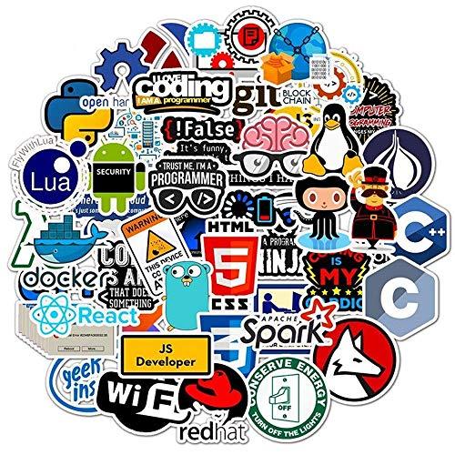 YANJ Pegatinas de Internet Java Geek Programmer Php Docker Html Bitcoin Cloud C ++ lenguaje de programación para ordenador portátil coche DIY pegatinas 50 piezas