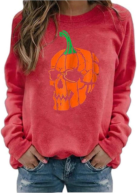 Women Pullover Sweatshirts Halloween Nippon regular agency Printed Long- Ranking TOP4 Pumpkin Skull