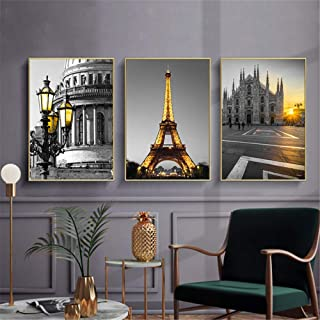 Rudxa Tower City European Architecture Building Scenery Picture Wall Art Canvas Painting Living Room Home Decoration-50x70cmx3 sin Marco
