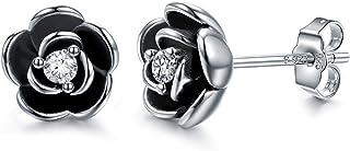 AllenCOCO 18K 镀金黑色玫瑰花耳钉 女式 纯银