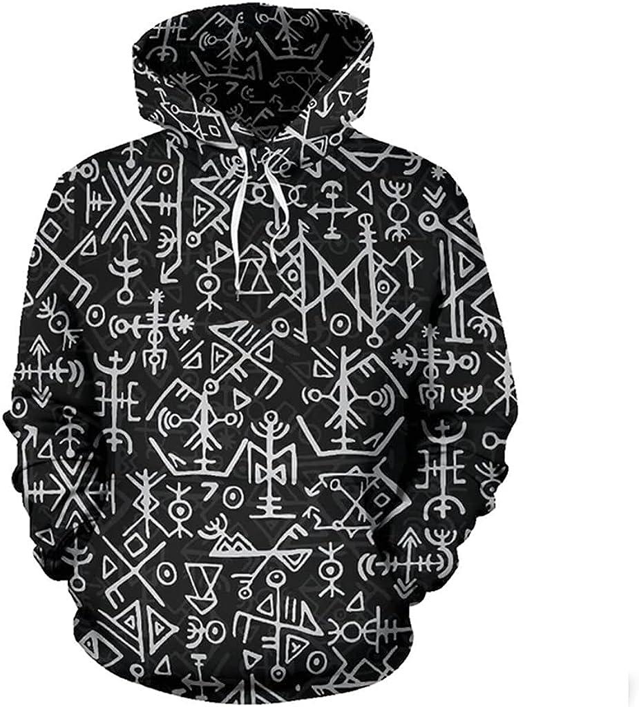 Norse Runes Long Sleeve Hooded Sweatshirt,Scandinavian Viking 3D Print Men Fall Casual Pullover Hoodie Harajuku Sweater