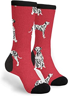 Packsjap Dalmatian Pet Dog Men & Women Casual Cool Cute Crazy Funny Athletic Sport Colorful Fancy Novelty Graphic Crew Tube Socks