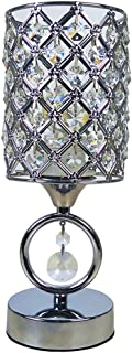Hsyile KU300166 Modern Chrome Crystal Desk Lamps for Bedroom Nightstand,Study,Living Room Table Lamp