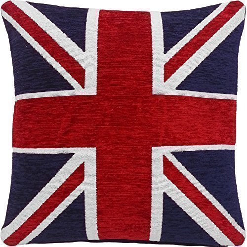 2 X STUNNING THICK HEAVYWEIGHT CHENILLE RED WHITE BLUE UNION JACK 18' CUSHION COVERS
