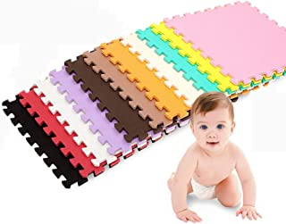 HLMIN Interlocking Foam Floor Mat PE Child Game Crawling Splice Motion Kitchen Gym Can Be Cut At Will, 10 Colors, 8 Specif...