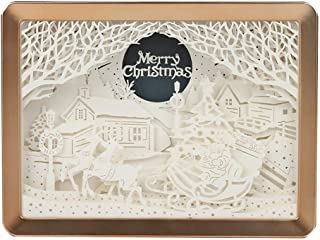3D Paper Carving Art Light Christmas Element Sculpture Shadow Lamp DIY Paper-Cut Artwork Crafts USB Powered Table Lamp Ornament Xmas New Year Holiday Home Decoration Best Gift