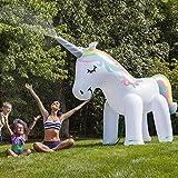 Aufblasbar Einhorn Sprinkler Spielzeug, Kinder Summer Outdoor Wasser Sprinkler Giant Unicorn Garten Wasserspielzeug 180cm