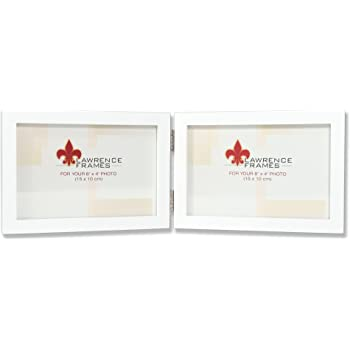 Lawrence Frames Hinged Double Horizontal White Wood Picture Frame 4 by 6-Inch Gallery Collection