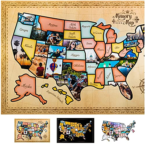US Photo Map – 24 x 36 inch United States Travel Memory Map – Personalize with Photos of the...