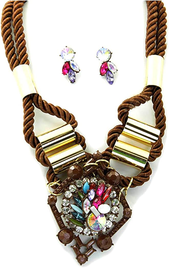 Fashion Jewelry ~ Lucite Bead and Crystal Brown Cord Statement Necklace and Earrings Set for Women Teens Girlfriends Birthday Gifts