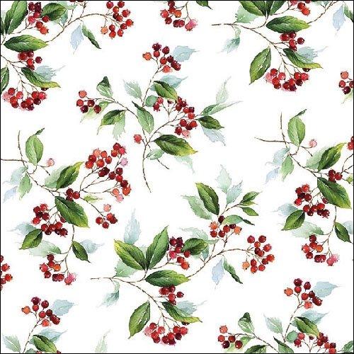 Ambiente Weihnachten Serviette 33 cm Winter Blattwerk Holly Berry Servietten