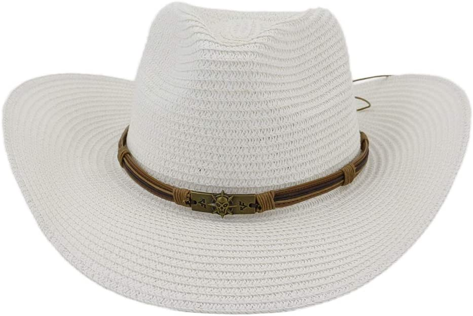 Opening large release sale Women Cap Summer Austin Mall Cowboy Straw Western Hat Protection Unisex Sun