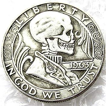 Hobo Coin 1963 Franklin Half Dollar Skull Zombie Skeleton Hand Carved Hobo Nickel Funny Coins