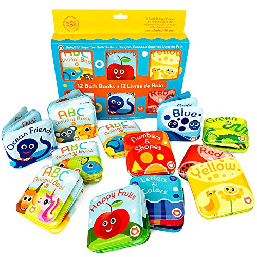 Super Bath Book Set of 12 (Fruits, Ocean Friends, ABC, Numbers Books; Color Recognition Bath Books Including Yellow, Green, Red and Blue Color Topics, ABC Animal Bath Books.