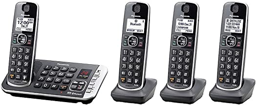 Panasonic Link2Cell Bluetooth DECT 6.0 Expandable Cordless Phone System with Digital Answering System, KX-TGE674B