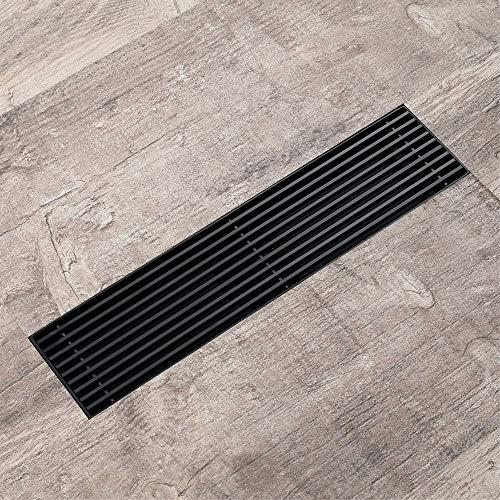 DYR Schwarzer Bodenablauf, Rechteck 30X7cm Badezimmer-Haarsieb, Küchentoilette Anti-Geruchsabläufe, Edelstahl 304, Schwarz