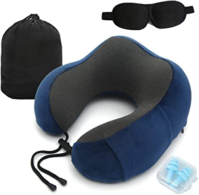 U-Travel Pillow 100% Pure Memory Foam Neck Pillow with Sleep Mask and Earplugs(Machine Washable), Perfect for Sleeping and Resting in Anywhere